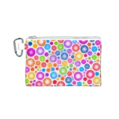 Candy Color s Circles Canvas Cosmetic Bag (Small)