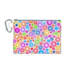 Candy Color s Circles Canvas Cosmetic Bag (Medium)