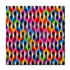 Rainbow Psychedelic Waves Ceramic Tile