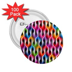 Rainbow Psychedelic Waves 2 25  Button (100 Pack)