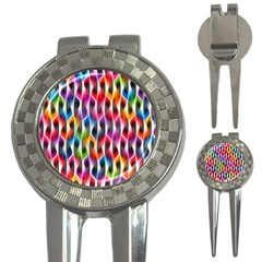 Rainbow Psychedelic Waves Golf Pitchfork & Ball Marker