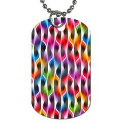 Rainbow Psychedelic Waves Dog Tag (one Sided)