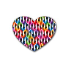 Rainbow Psychedelic Waves Drink Coasters 4 Pack (heart)