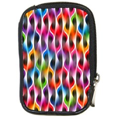 Rainbow Psychedelic Waves Compact Camera Leather Case