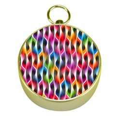 Rainbow Psychedelic Waves Gold Compass