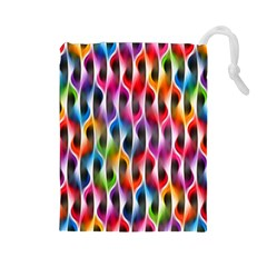 Rainbow Psychedelic Waves Drawstring Pouch (Large)
