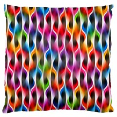 Rainbow Psychedelic Waves Large Flano Cushion Case (one Side)