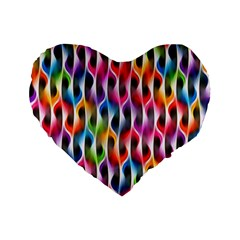 Rainbow Psychedelic Waves Standard 16  Premium Flano Heart Shape Cushion