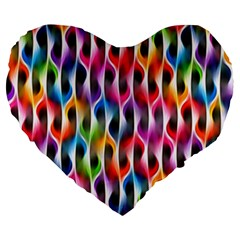 Rainbow Psychedelic Waves Large 19  Premium Flano Heart Shape Cushion