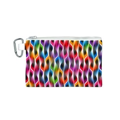Rainbow Psychedelic Waves Canvas Cosmetic Bag (Small)
