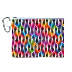 Rainbow Psychedelic Waves Canvas Cosmetic Bag (Large)