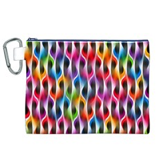 Rainbow Psychedelic Waves Canvas Cosmetic Bag (XL)