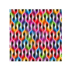 Rainbow Psychedelic Waves Small Satin Scarf (Square)
