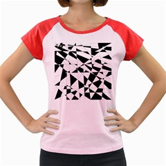 Shattered Life In Black & White Women s Cap Sleeve T Shirt (colored)