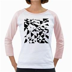 Shattered Life In Black & White Women s Long Cap Sleeve T-Shirt (White)
