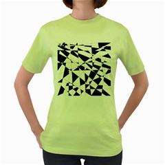 Shattered Life In Black & White Women s T-shirt (Green)
