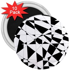 Shattered Life In Black & White 3  Button Magnet (10 Pack)