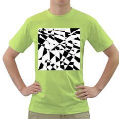 Shattered Life In Black & White Men s T-shirt (Green)