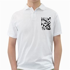 Shattered Life In Black & White Men s Polo Shirt (White)