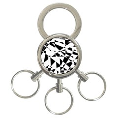 Shattered Life In Black & White 3 Ring Key Chain