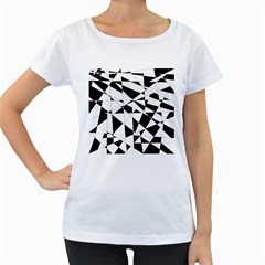 Shattered Life In Black & White Women s Loose-Fit T-Shirt (White)