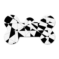 Shattered Life In Black & White Dog Tag Bone (one Sided)