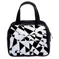 Shattered Life In Black & White Classic Handbag (two Sides)