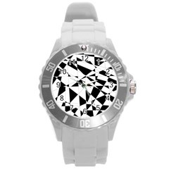 Shattered Life In Black & White Plastic Sport Watch (large)