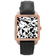Shattered Life In Black & White Rose Gold Leather Watch