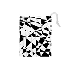 Shattered Life In Black & White Drawstring Pouch (Small)