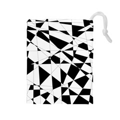 Shattered Life In Black & White Drawstring Pouch (Large)