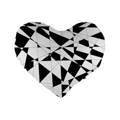 Shattered Life In Black & White Standard 16  Premium Flano Heart Shape Cushion