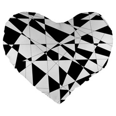 Shattered Life In Black & White Large 19  Premium Flano Heart Shape Cushion