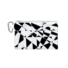 Shattered Life In Black & White Canvas Cosmetic Bag (Small)