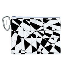 Shattered Life In Black & White Canvas Cosmetic Bag (Large)