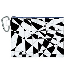 Shattered Life In Black & White Canvas Cosmetic Bag (XL)