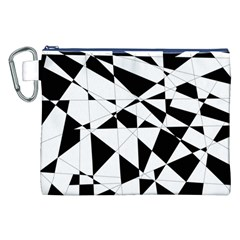 Shattered Life In Black & White Canvas Cosmetic Bag (XXL)