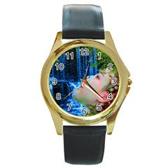 Fountain Of Youth Round Leather Watch (gold Rim)