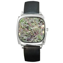 Linaria Grass Pattern Square Leather Watch