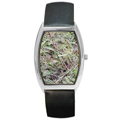Linaria Grass Pattern Tonneau Leather Watch