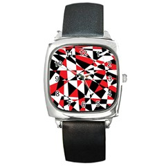Shattered Life Tricolor Square Leather Watch