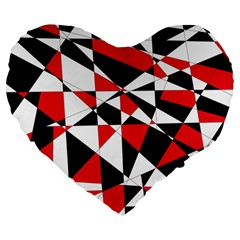 Shattered Life Tricolor Large 19  Premium Flano Heart Shape Cushion