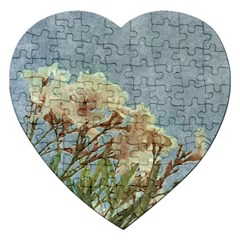 Floral Grunge Vintage Photo Jigsaw Puzzle (heart)