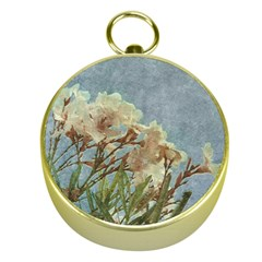 Floral Grunge Vintage Photo Gold Compass