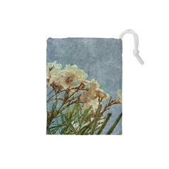 Floral Grunge Vintage Photo Drawstring Pouch (Small)