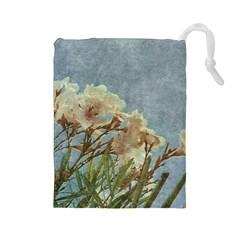 Floral Grunge Vintage Photo Drawstring Pouch (Large)