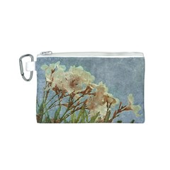 Floral Grunge Vintage Photo Canvas Cosmetic Bag (Small)