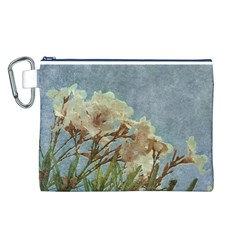 Floral Grunge Vintage Photo Canvas Cosmetic Bag (large)