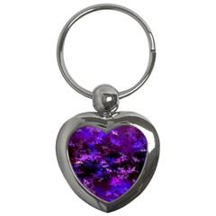 Purple Skulls Goth Storm Key Chain (heart)