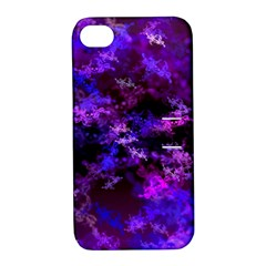 Purple Skulls Goth Storm Apple Iphone 4/4s Hardshell Case With Stand